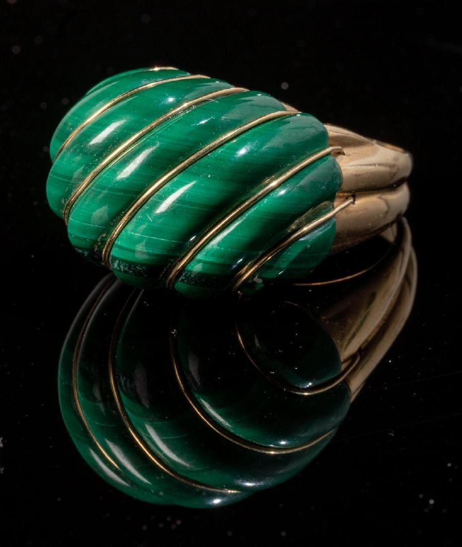 Malachite & 14k Gold Domed MAZ Ring