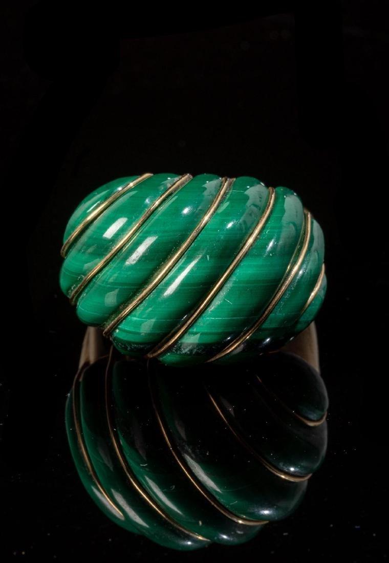 Malachite & 14k Gold Domed MAZ Ring - 2