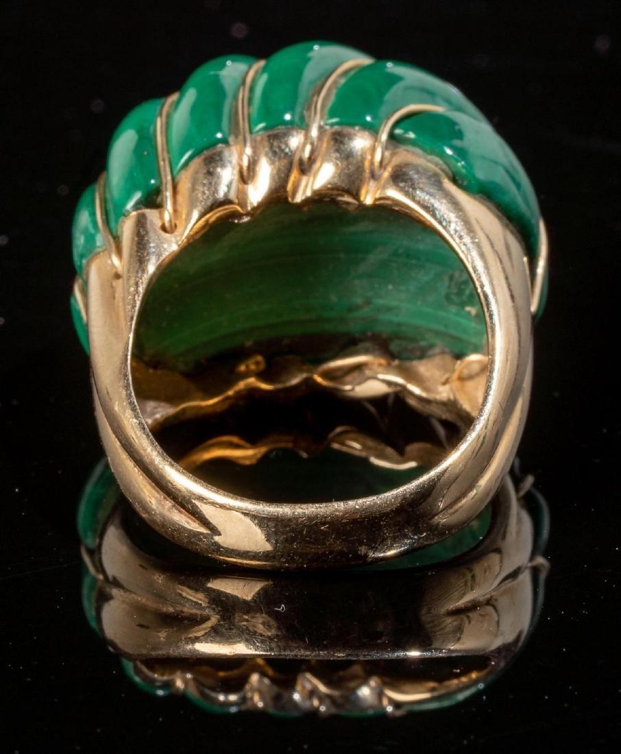 Malachite & 14k Gold Domed MAZ Ring - 3