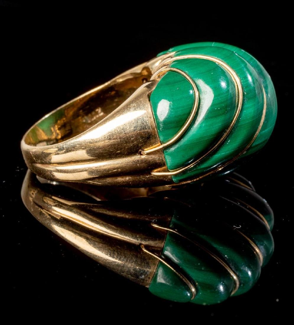 Malachite & 14k Gold Domed MAZ Ring - 4