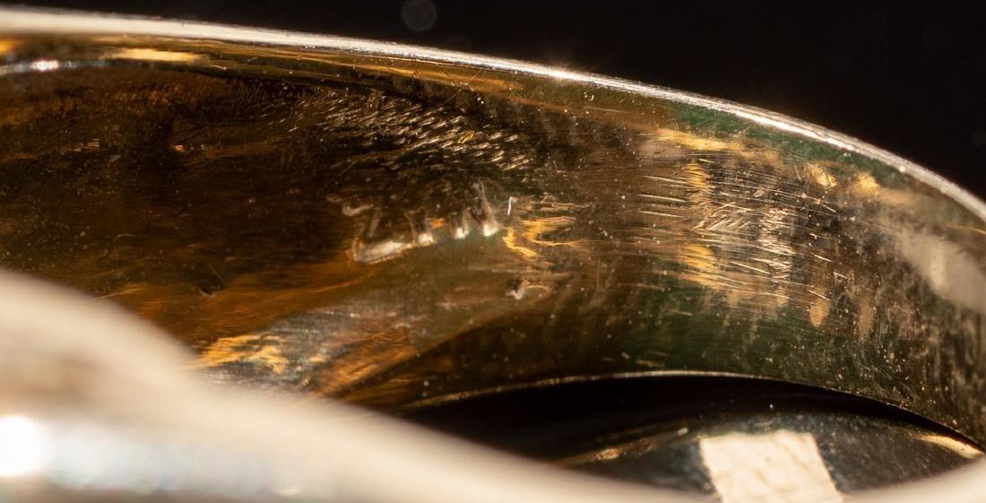 Malachite & 14k Gold Domed MAZ Ring - 5