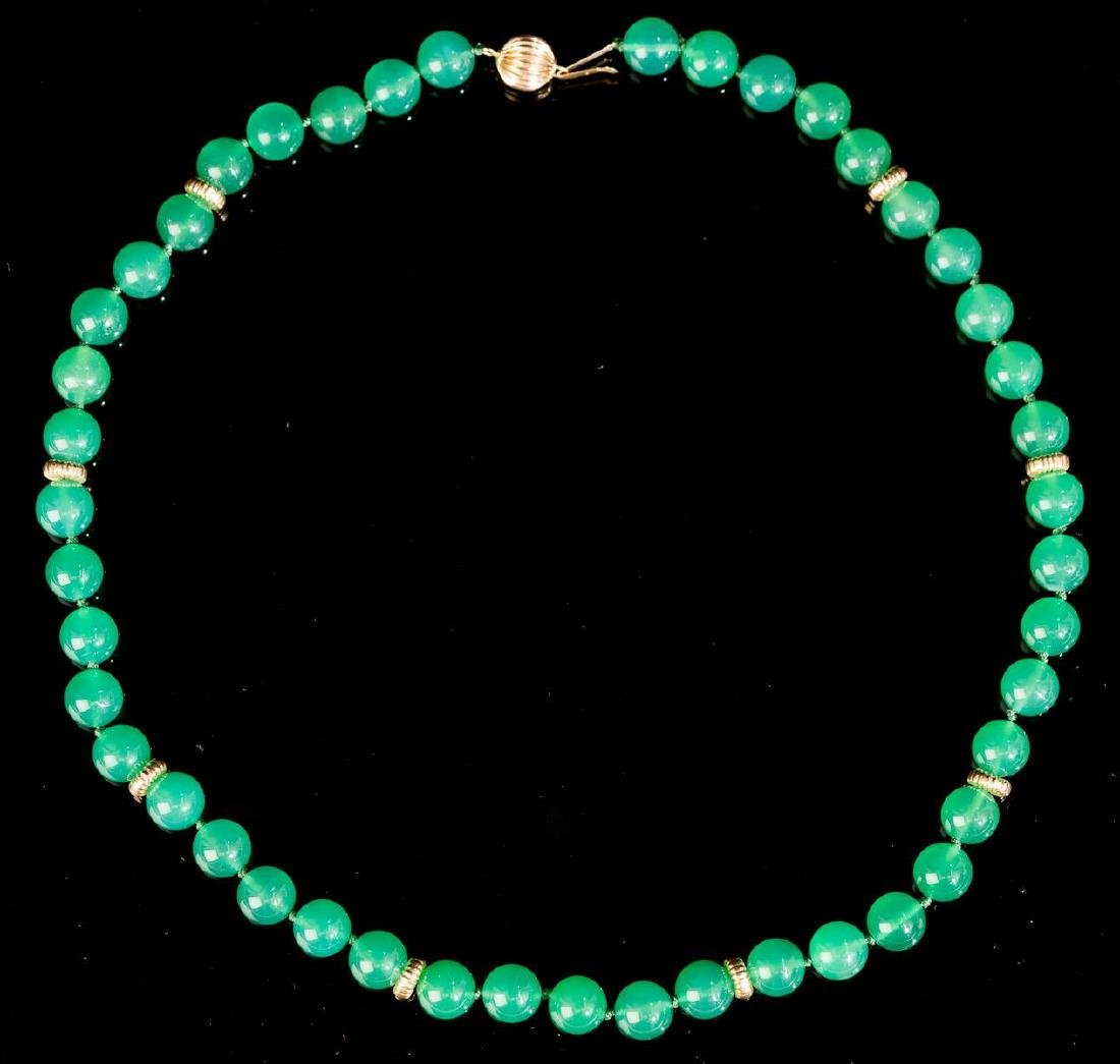 Green Jadeite Necklace & 14k Gold Clasp