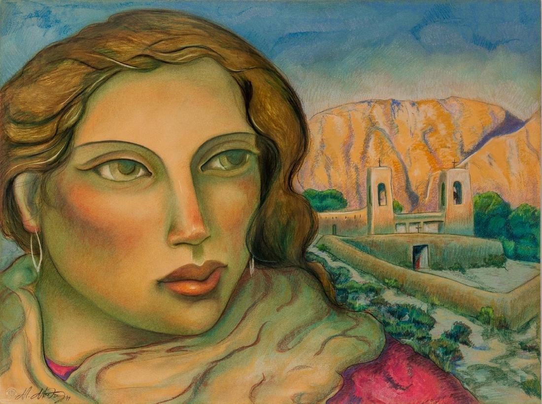 """Miguel Martinez, """"Pilgrimage to Chimayo"""", 1994, pastel"""