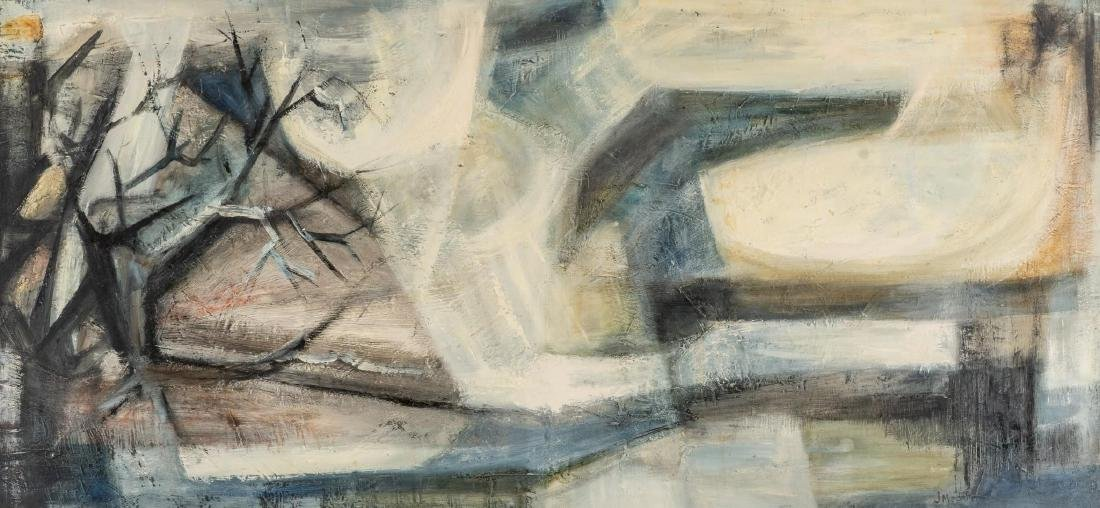 """Jesse Medellin, """"Landscape"""", oil on board, 22.75 x 48"""""""