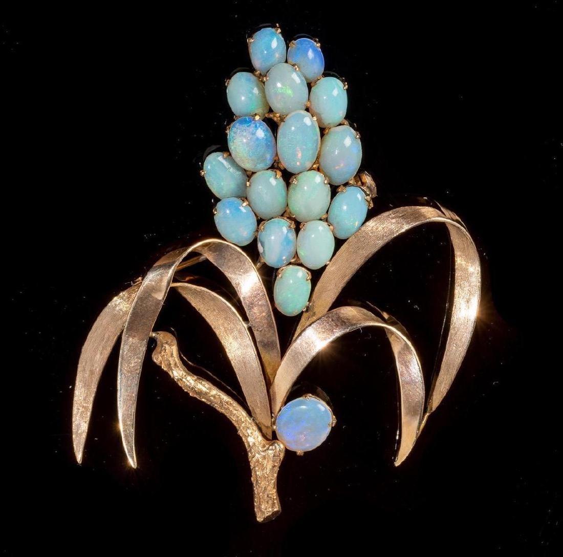 Opal & 14k Gold Wheat Form Pin