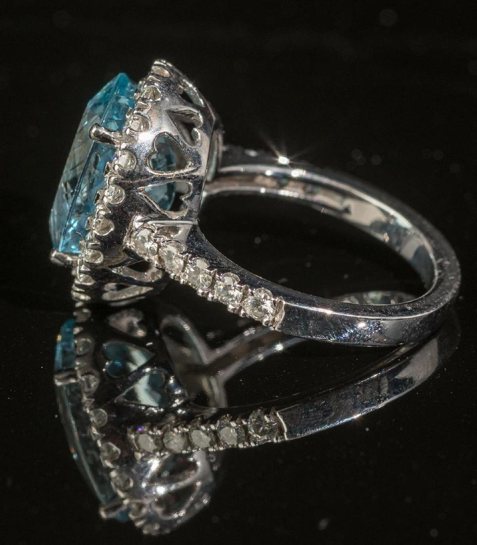 Aquamarine & Diamond Halo Ring - 2