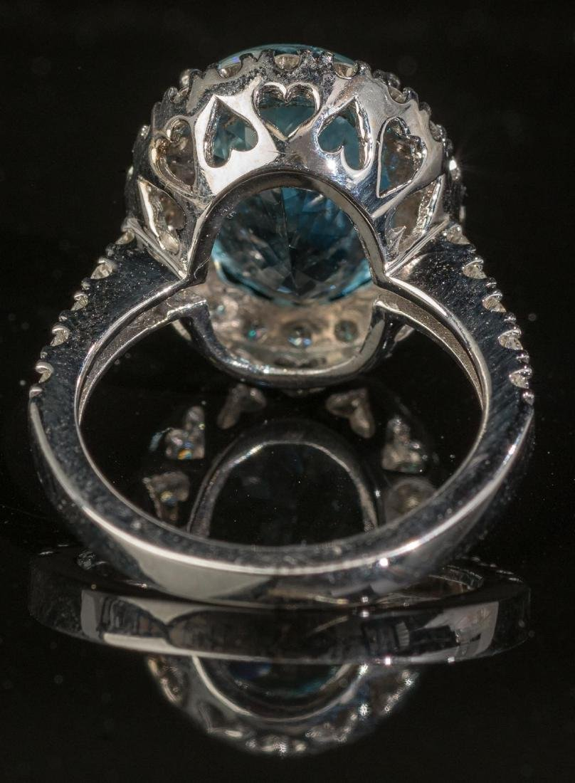 Aquamarine & Diamond Halo Ring - 3
