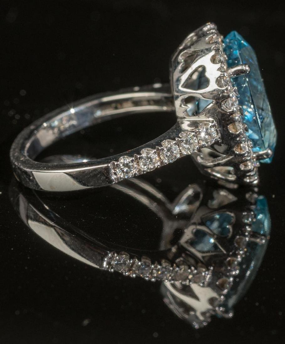 Aquamarine & Diamond Halo Ring - 4