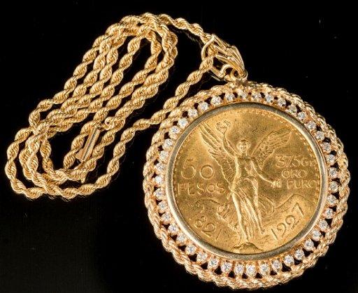 Mexican 50 Pesos Gold Coin Pendant