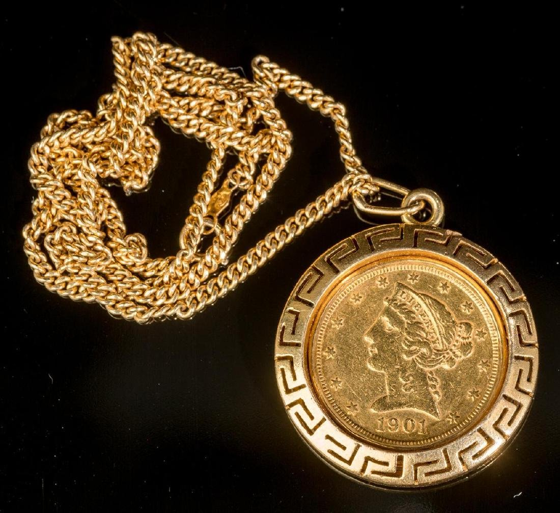 Estate, 1901, S, Gold Liberty $5 Gold Coin Necklace