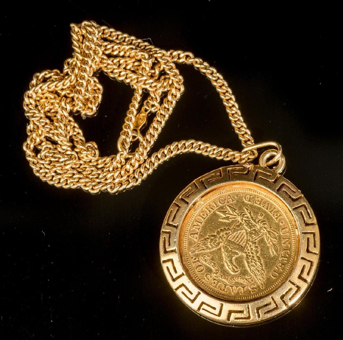 Estate, 1901, S, Gold Liberty $5 Gold Coin Necklace - 2