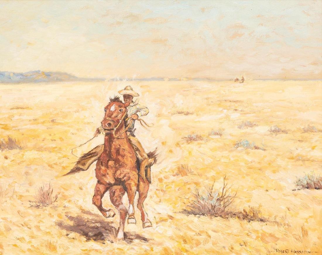 Robert Harrison (b. 1949), Cowboy, oil on canvas,