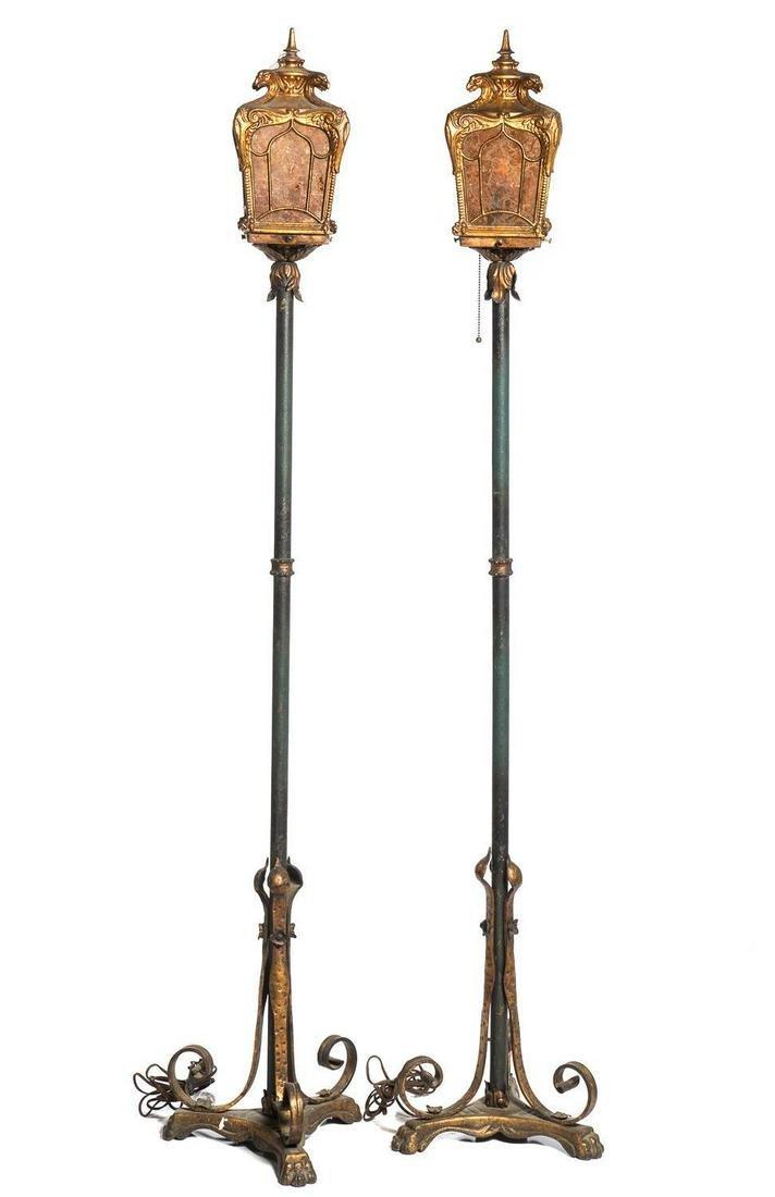Pair of Deco/ Renaissance Style Bronzed Floor Lamps