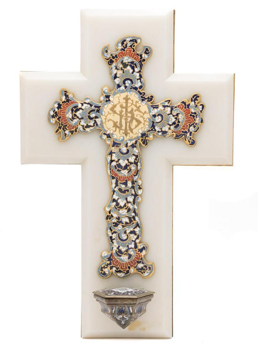 French Champleve Holy Water Font Cross