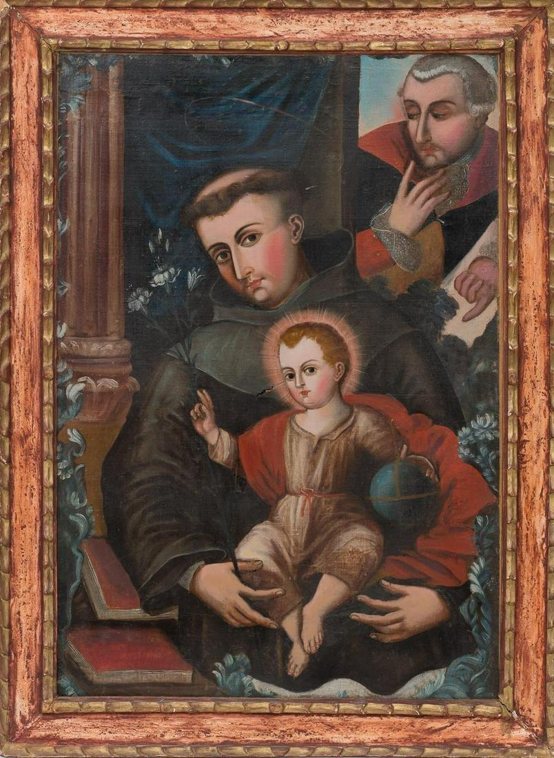 Spanish Colonial Oil on Canvas Painting of San Antonio