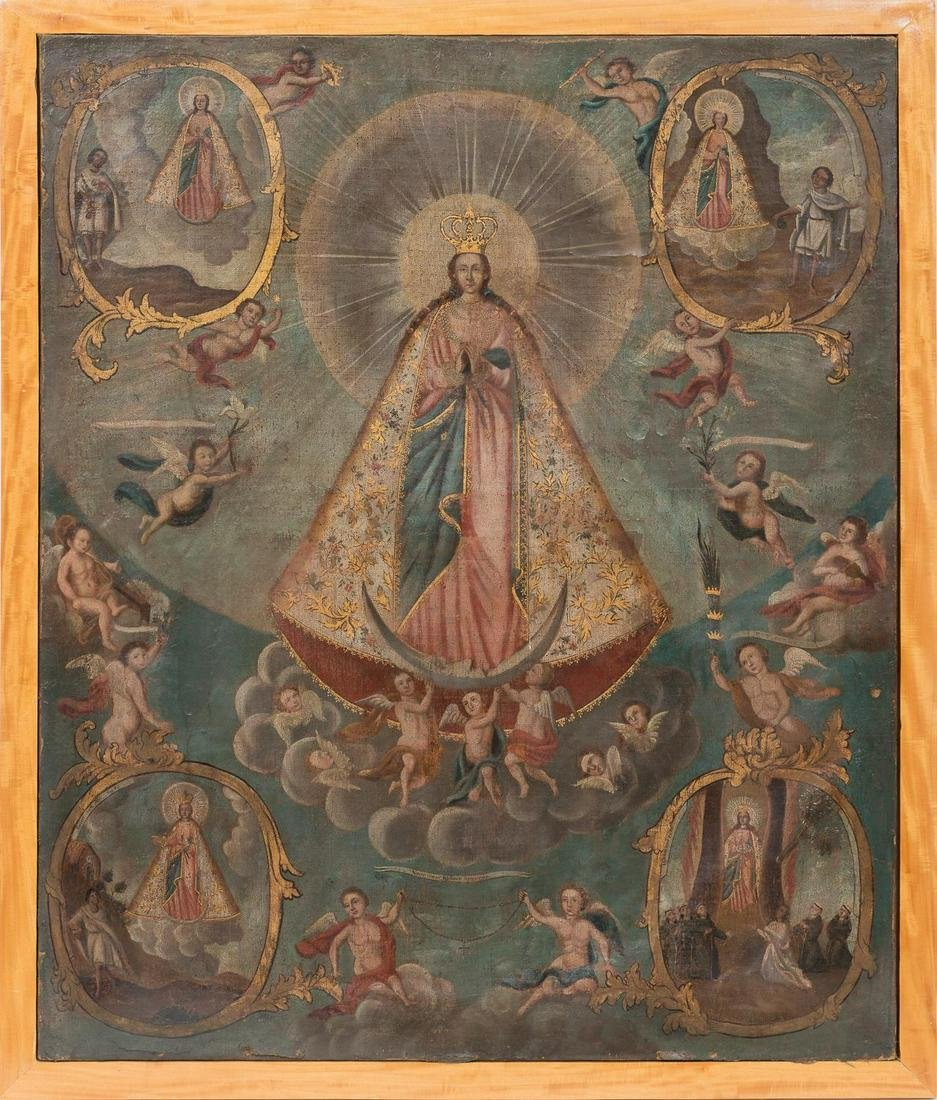 Oil on Canvas of Our Lady of Guadalupe, Cuzco School