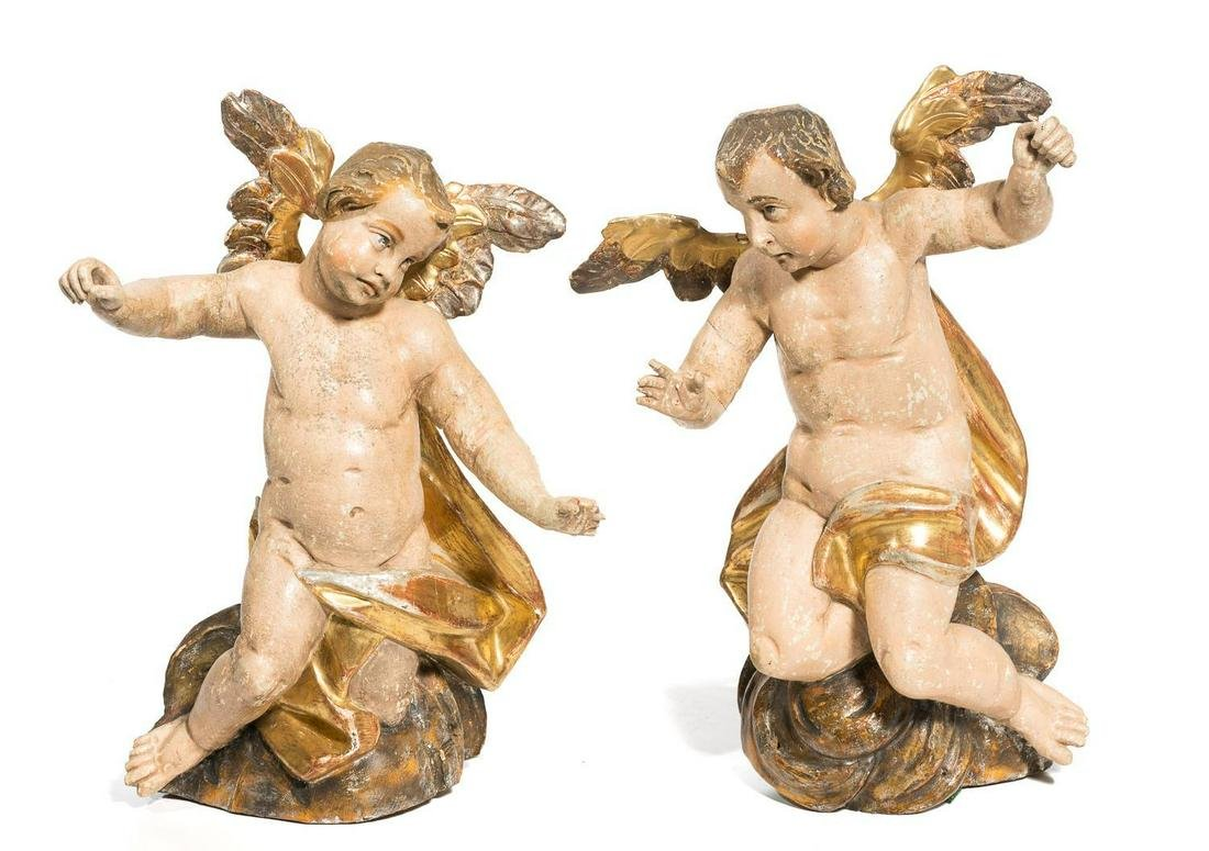 Pair of Italian Wood & Gesso Angels
