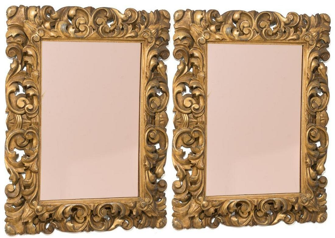 Pair of Italian Baroque Style Carved Gilt Wood Mirrors