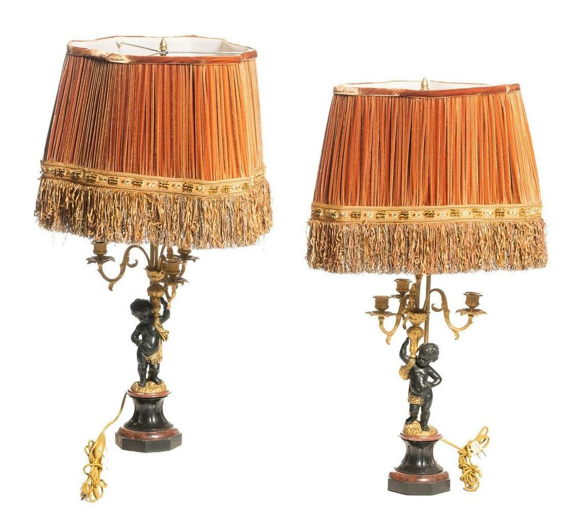 Pair of Louis XVI Style Parcel Gilt Bronze Cherub Lamps