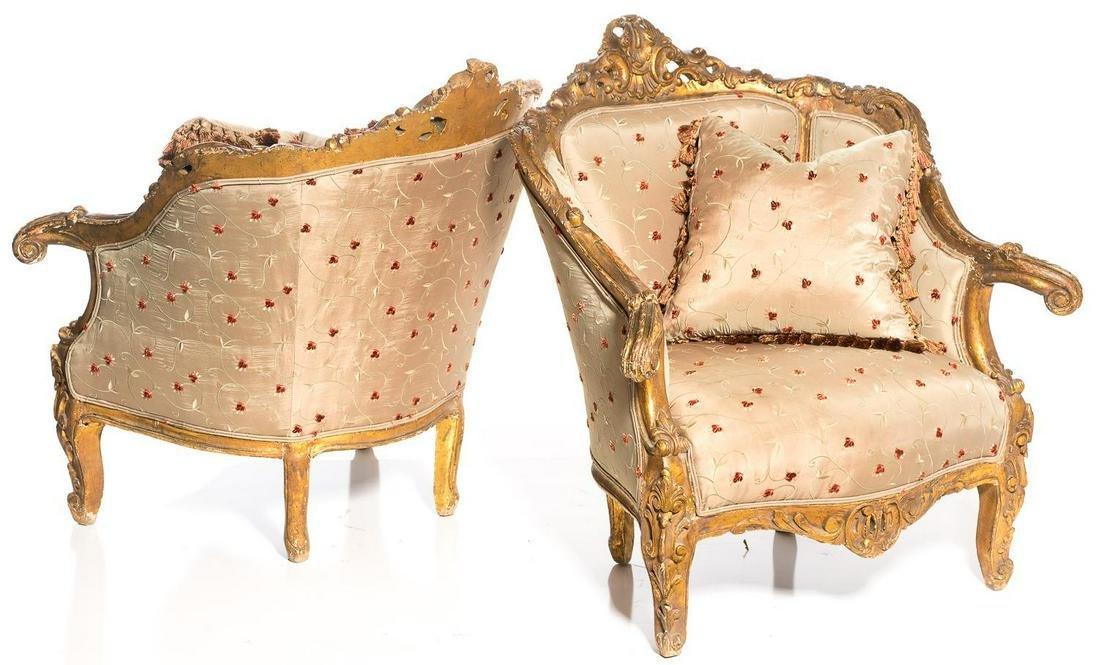 Pair of Venetian Rococo-Style Giltwood Bergeres