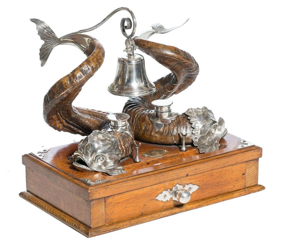 Victorian English Rams Horn Oak & Silver-Plate Inkstand