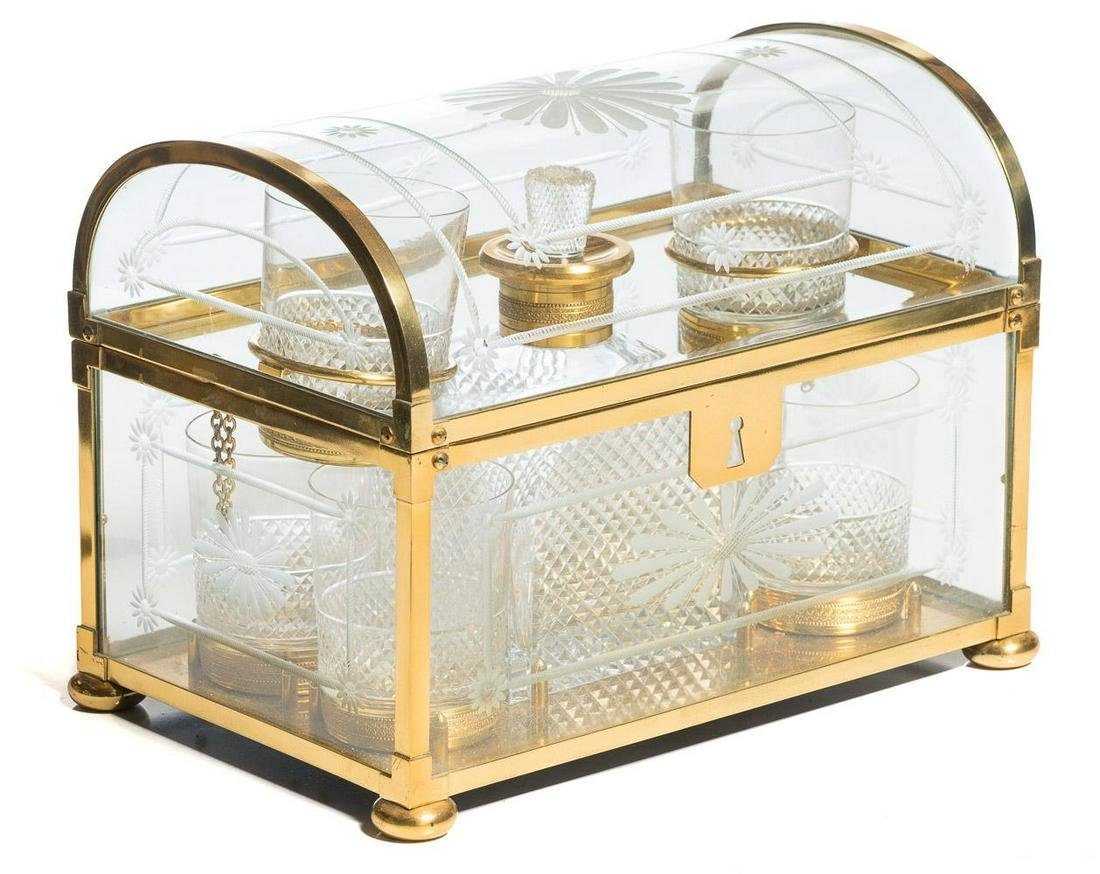 Domed Brass & Glass Tantalus Set