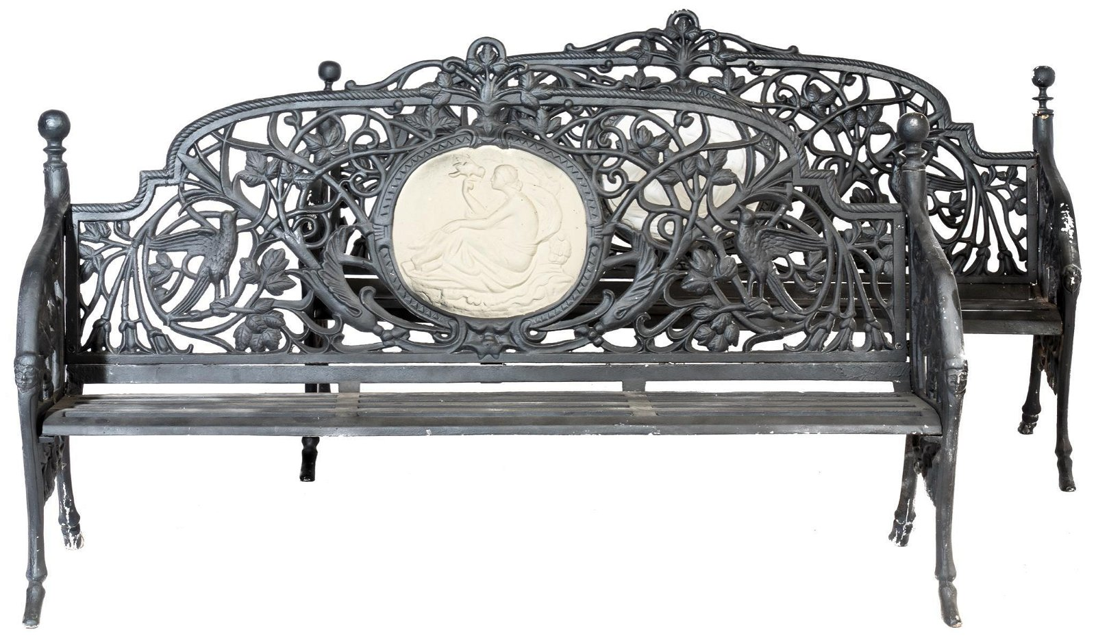Pair of Cast Iron Coalbrookdale Style Medallion Benches