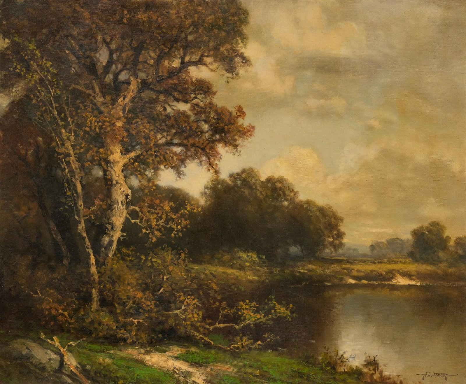 A.D. Greer (1904-1998), Lake Scene, oil on canvas