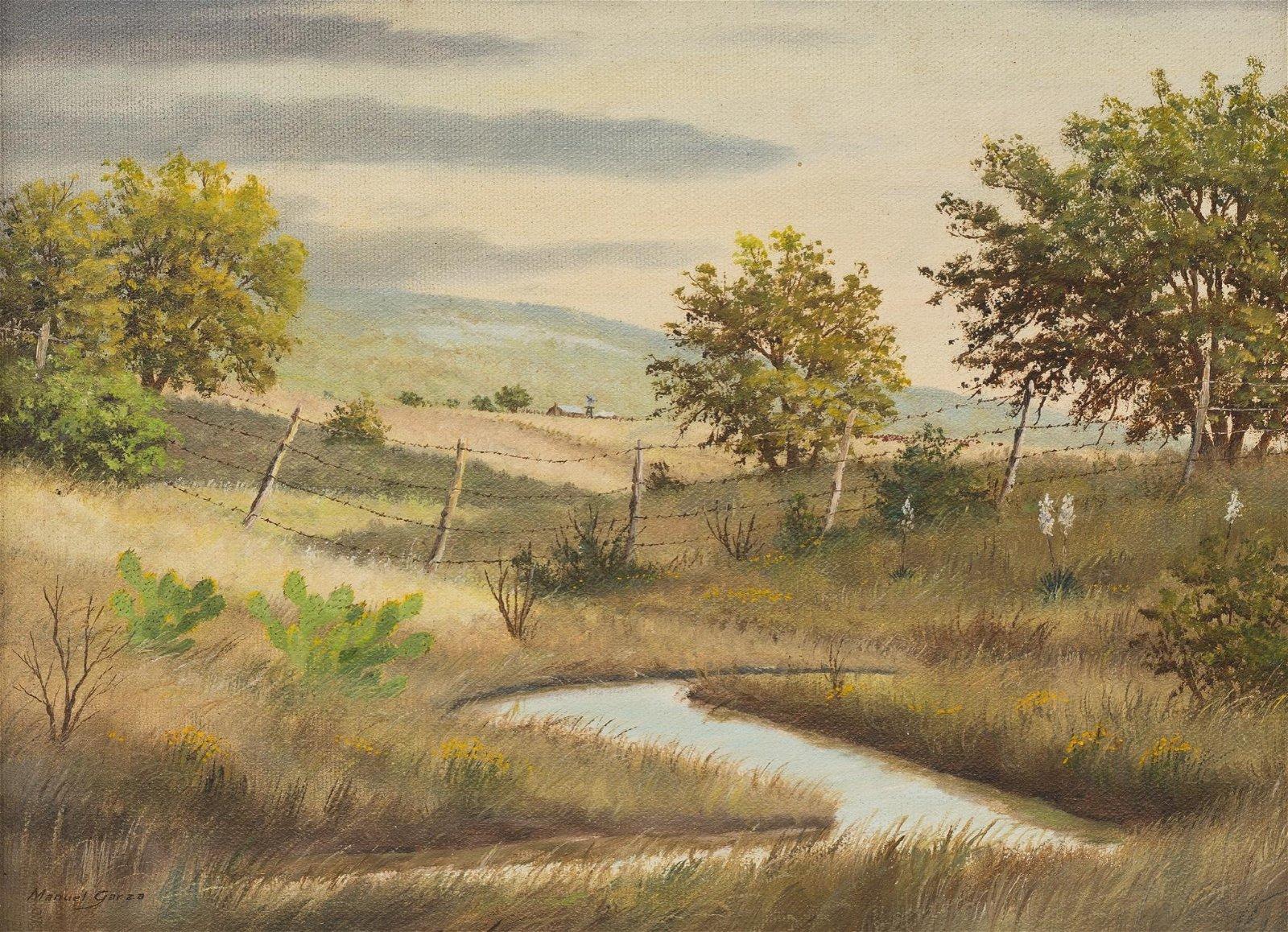"""Manuel Garza (b. 1940), Fence, oil on canvas, 9 x 12"""""""