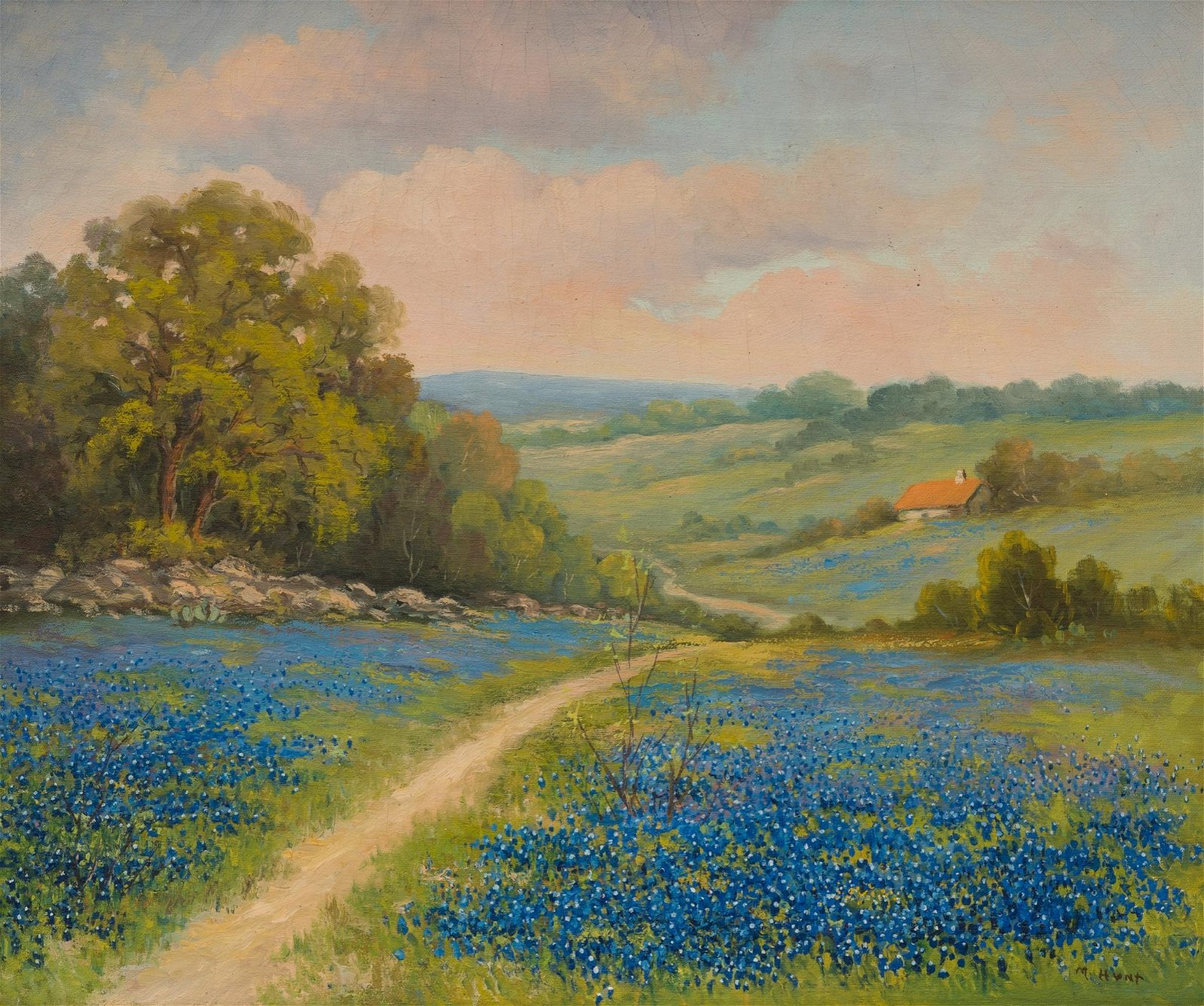 M. Hunt, Early Texas Bluebonnets, oil on canvas