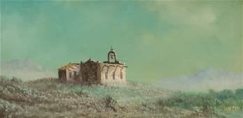 Lester Hughes b 1940 Ruins oil on canvas 15 x 30