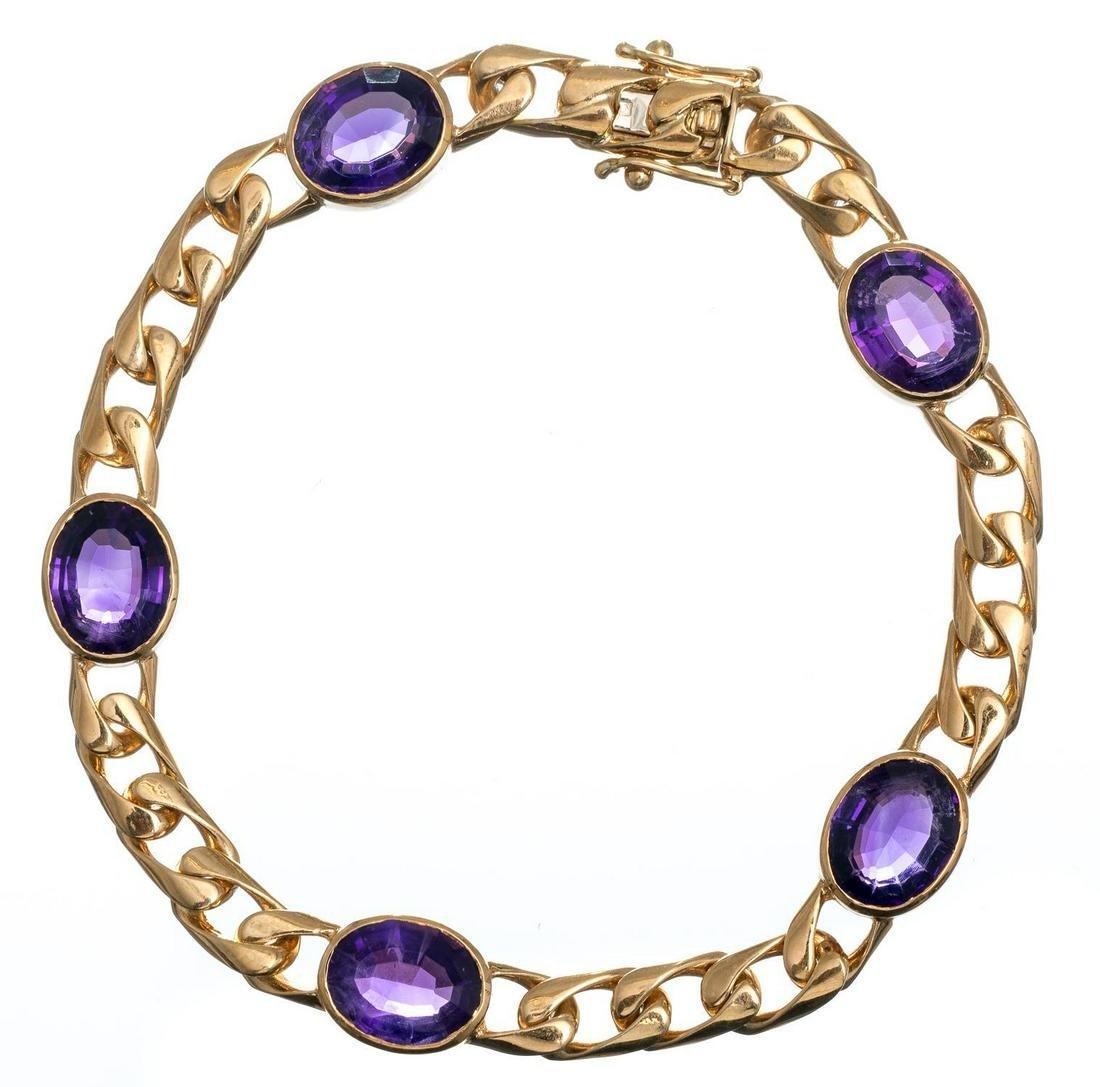 18k Gold & Purple Amethyst Bracelet