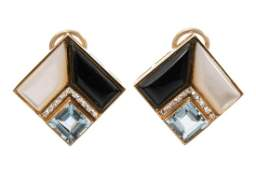 Diamond Pearl Onyx  14k Gold Earrings