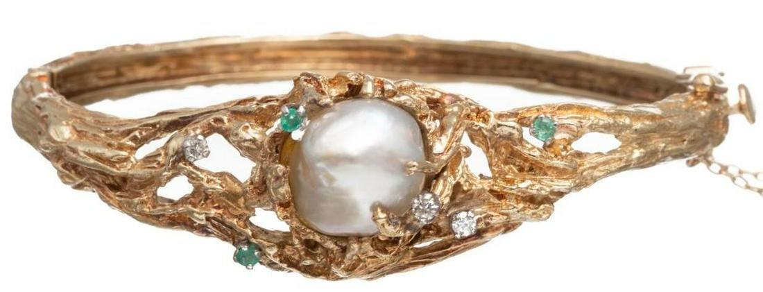 Cultured Pearl, Emerald, Diamond 14k Gold Bracelet