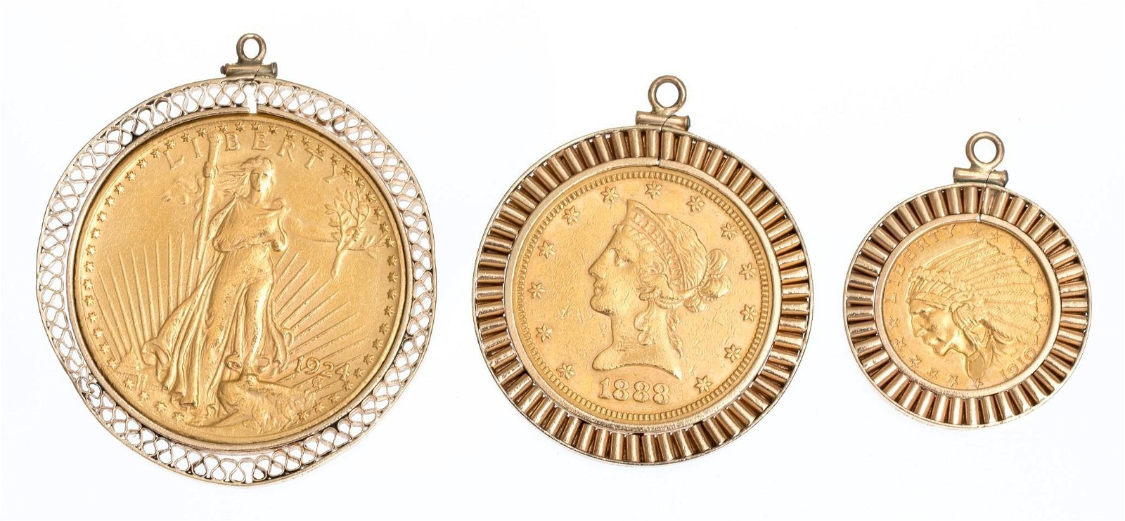 Group of Estate Gold Coin Pendants