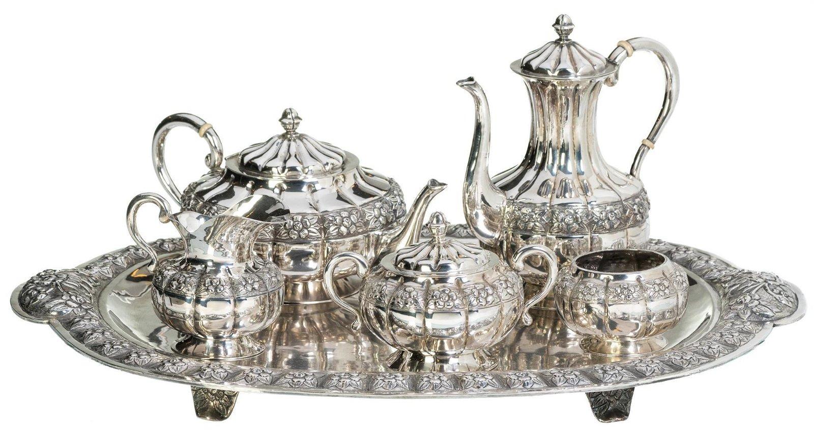 Sanborns Aztec Rose Sterling Silver Tea Set