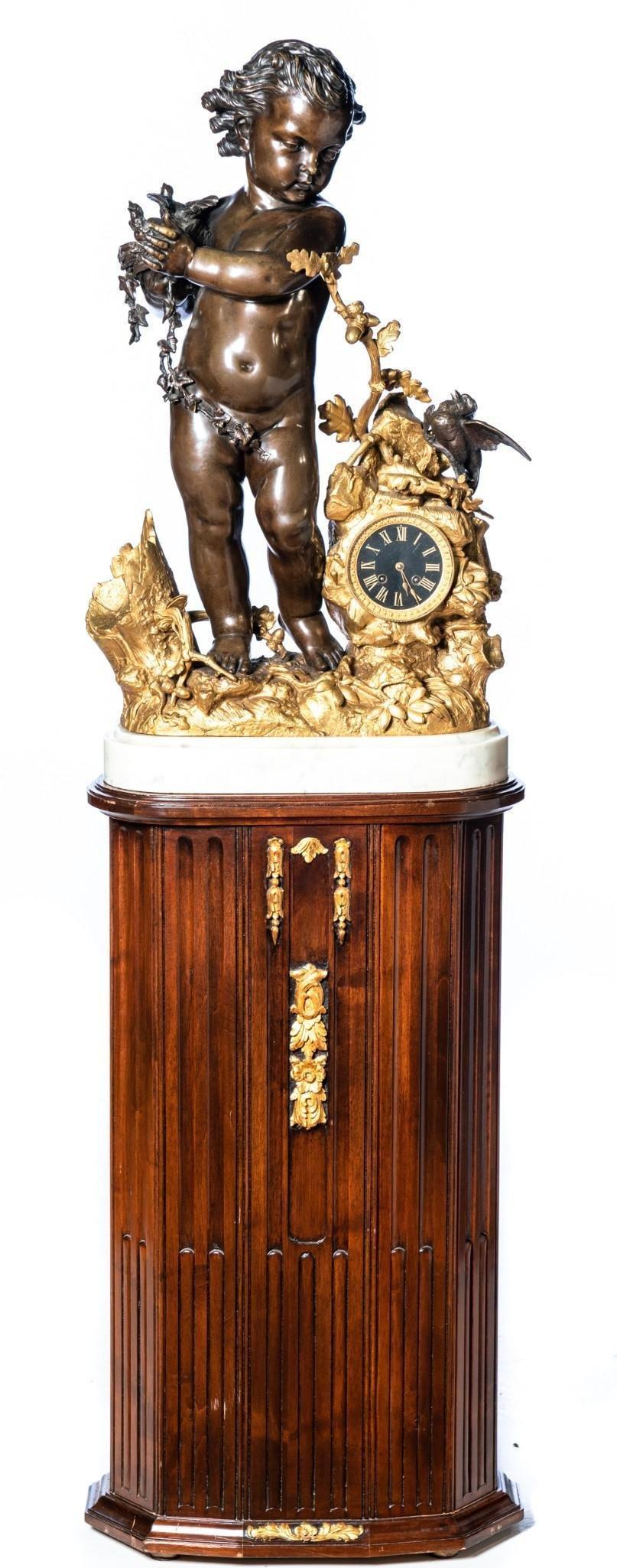 Paul Emile Machault French Bronze Pedestal Clock