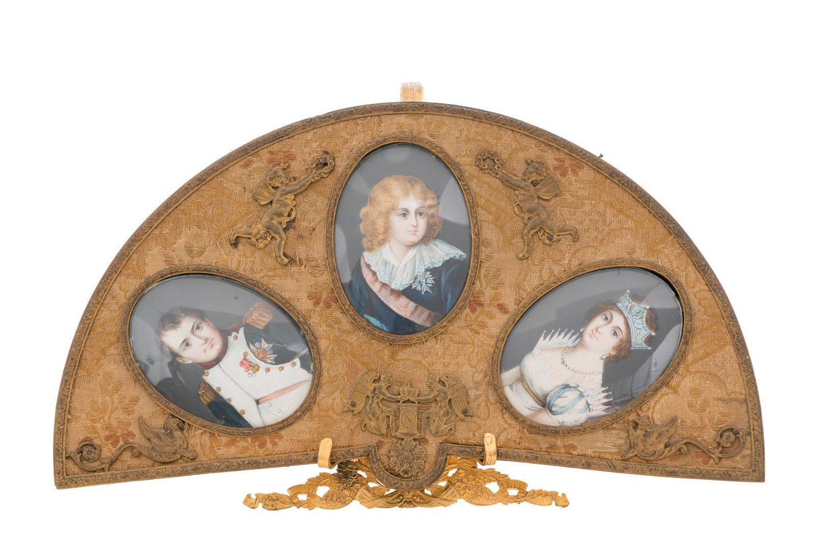 French Empire Napoleon Family Portrait Triptych