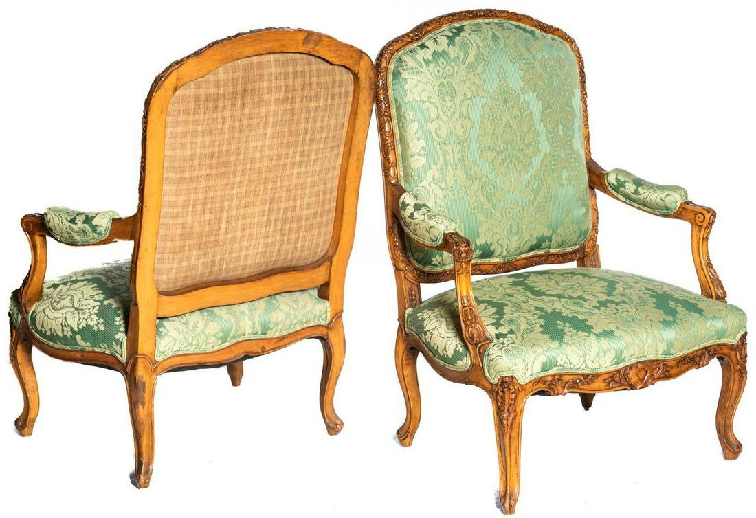 Pair of Green Silk Upholstered Louis XV Armchairs