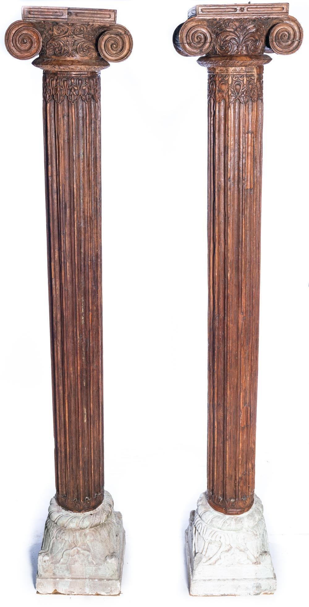 Antique Wood and Stone Corinthian Columns