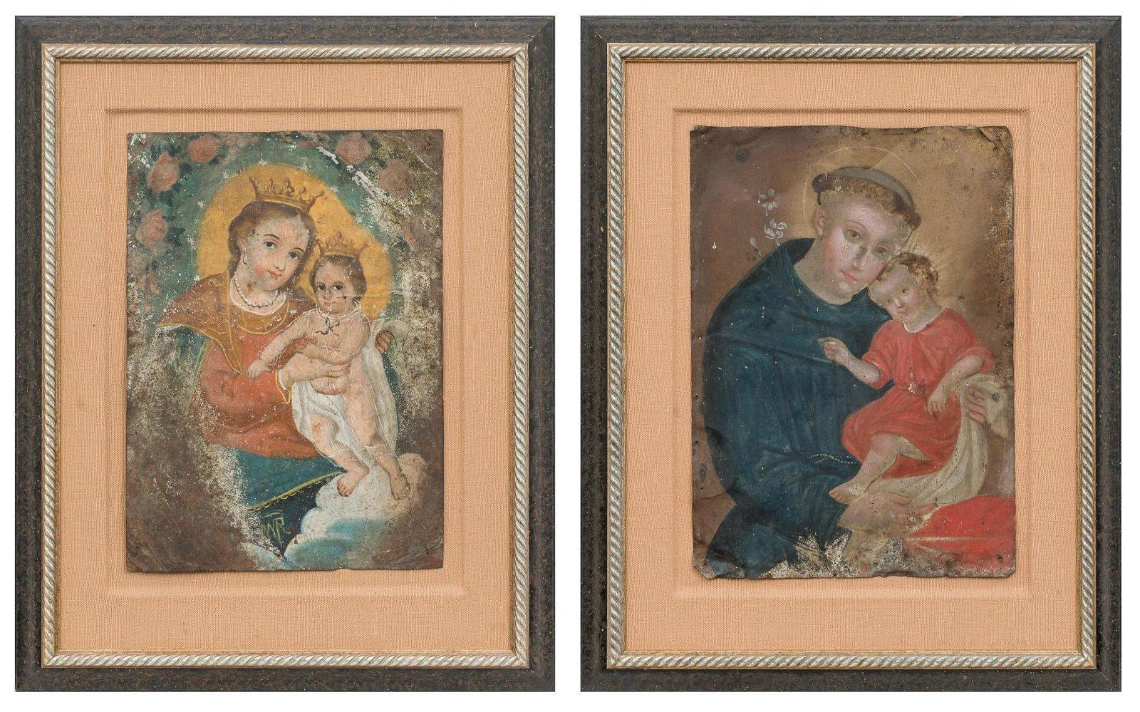 Pair of Tin Retablos St. Anthony & Madonna w. Child