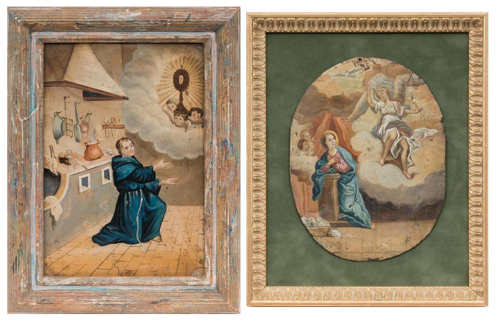 Pair of Retablos, Annunciation and Saint Paschal