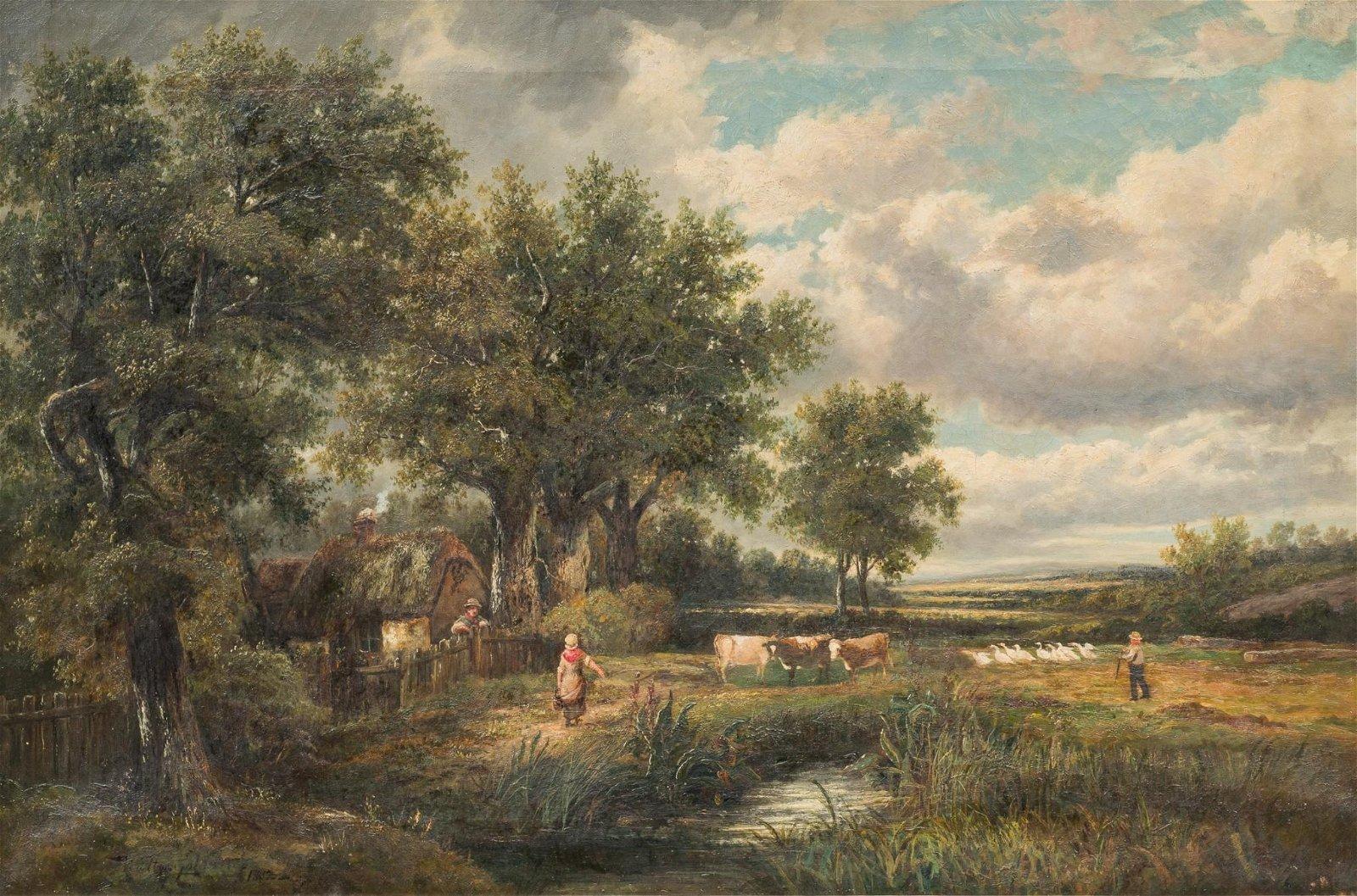 "Dutch Scene, 1882, oil on canvas, 24 x 36"""