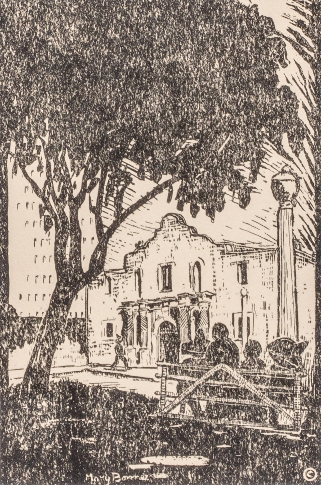 Mary Bonner (1887-1935), The Alamo, 1928, woodblock,