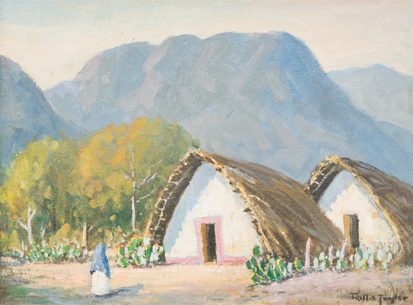 Rolla Taylor (1872-1970), Mexican Village, oil