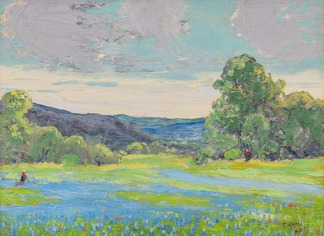 Carl Hoppe (1897-1981), Bluebonnets, 1949, oil