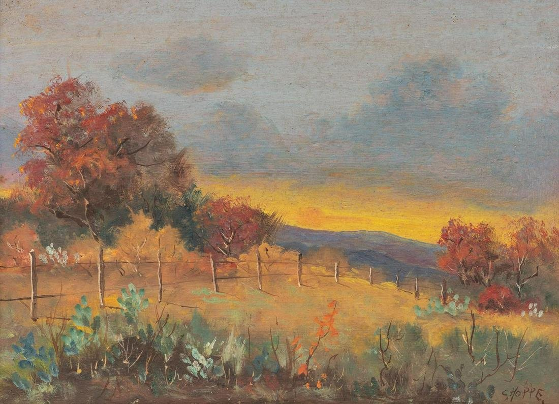 "Carl Hoppe (1897-1981), ""Sunset Boerne"", oil on board"