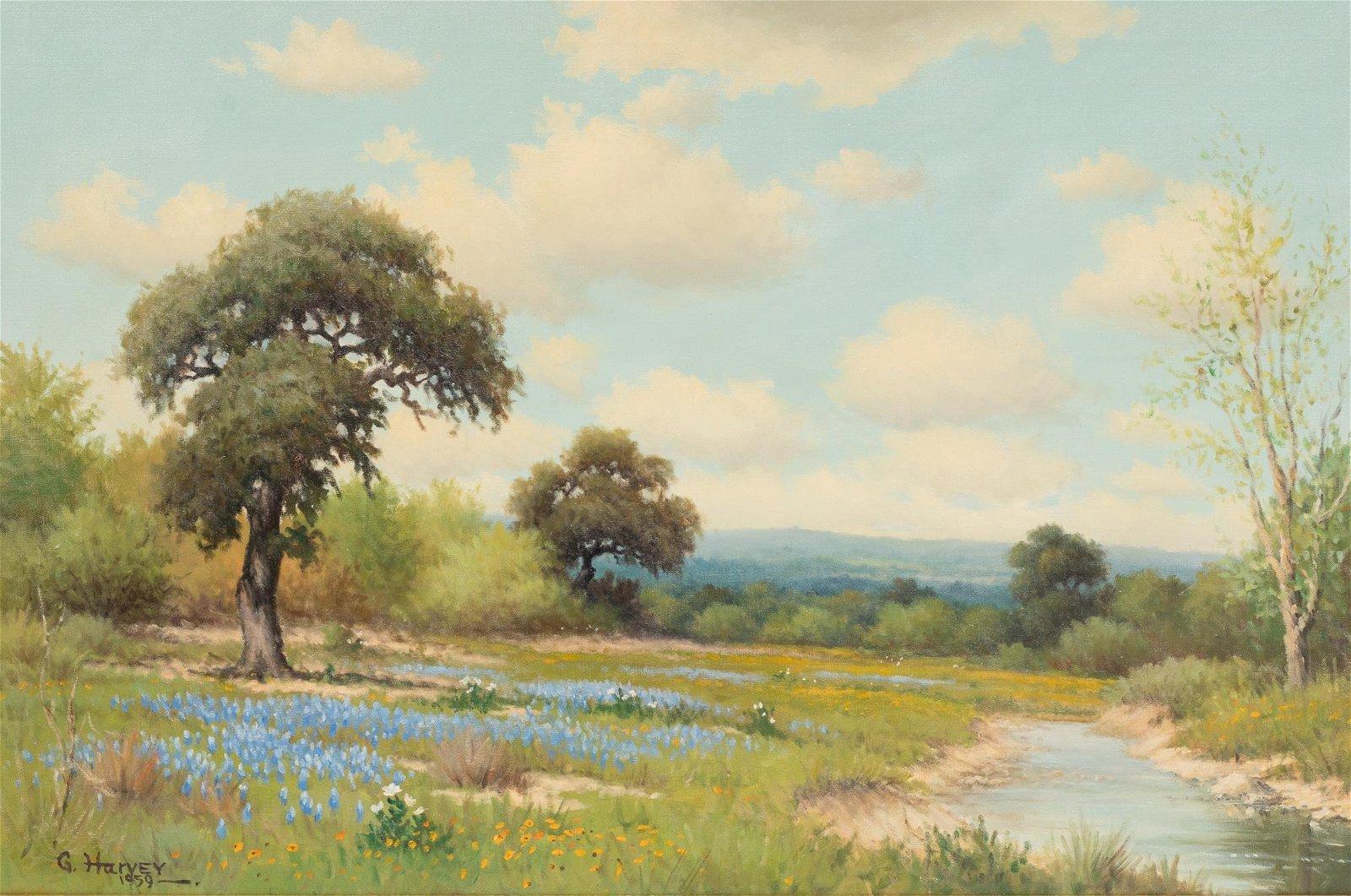 G. Harvey (1933-2017), Bluebonnets, 1959, oil