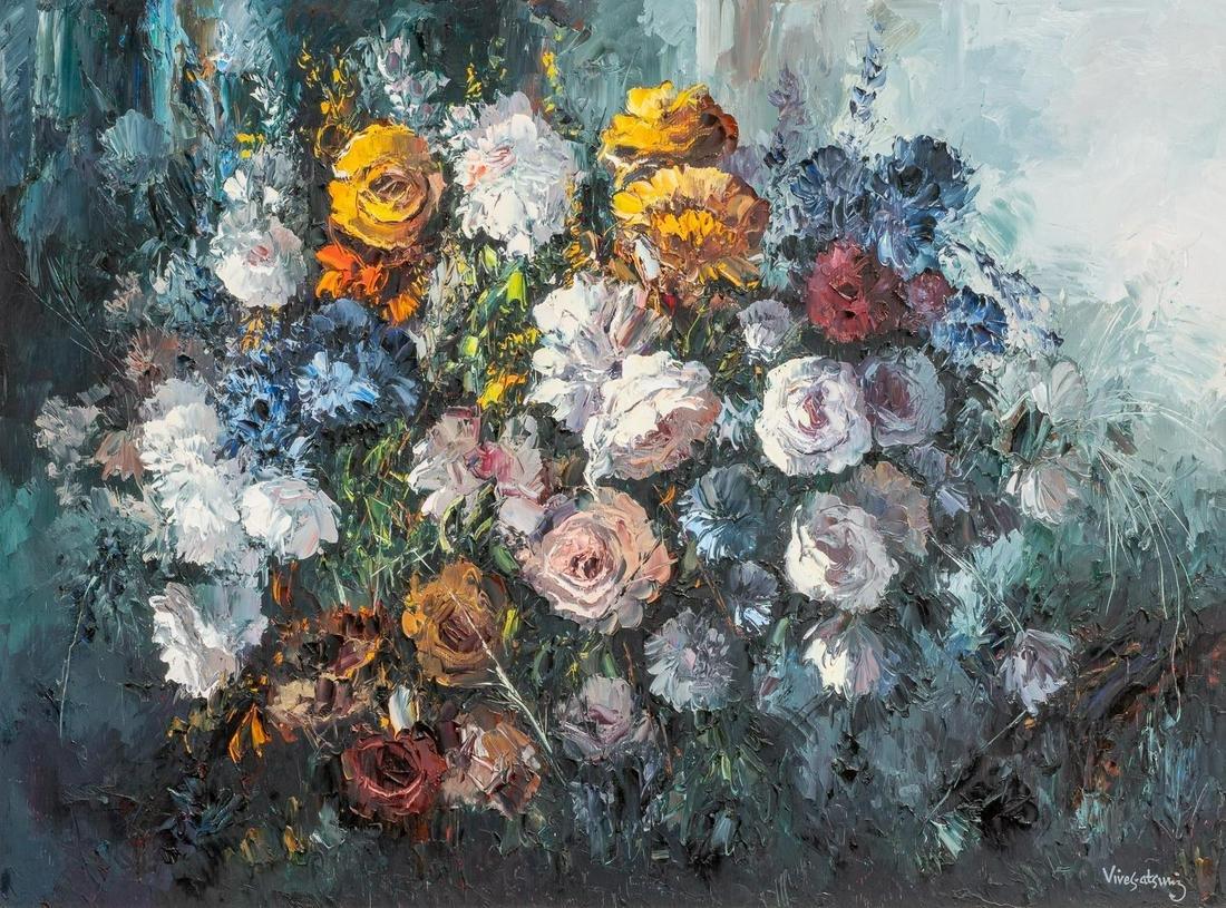 "Jose Vives-Atsara (1919-2004), ""Flowers"", oil on board,"