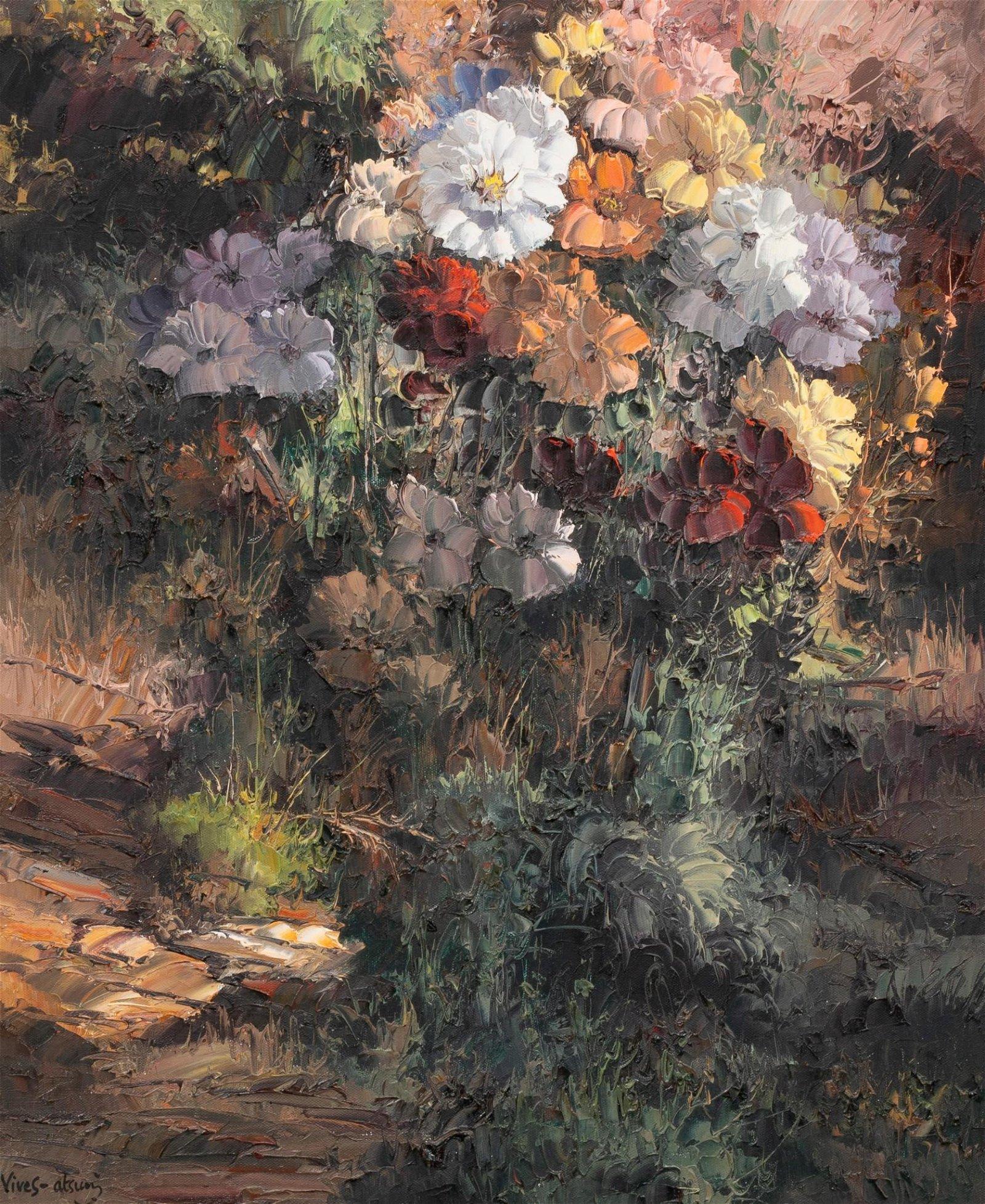"""Jose Vives-Atsara (1919-2004), """"Flowers"""", 1974, oil"""